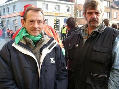 Michel (links) uit Temse is 52jaar en werkt al 36 jaar bij Bekaert Hemiksem. En Jos (rechts) is 54 jaar en werkt al 35 jaar bij Bekaert Hemiksem.