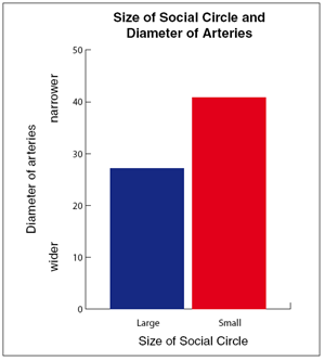 Based on quantitative angiogram findings, subjects with smaller social networks had narrower arteries (mean angiogram stenosis value, 40.8 vs 27.2 for small vs. large social networks, respectively; (p<0.001) (adapted from Rutledge et al., 2004).