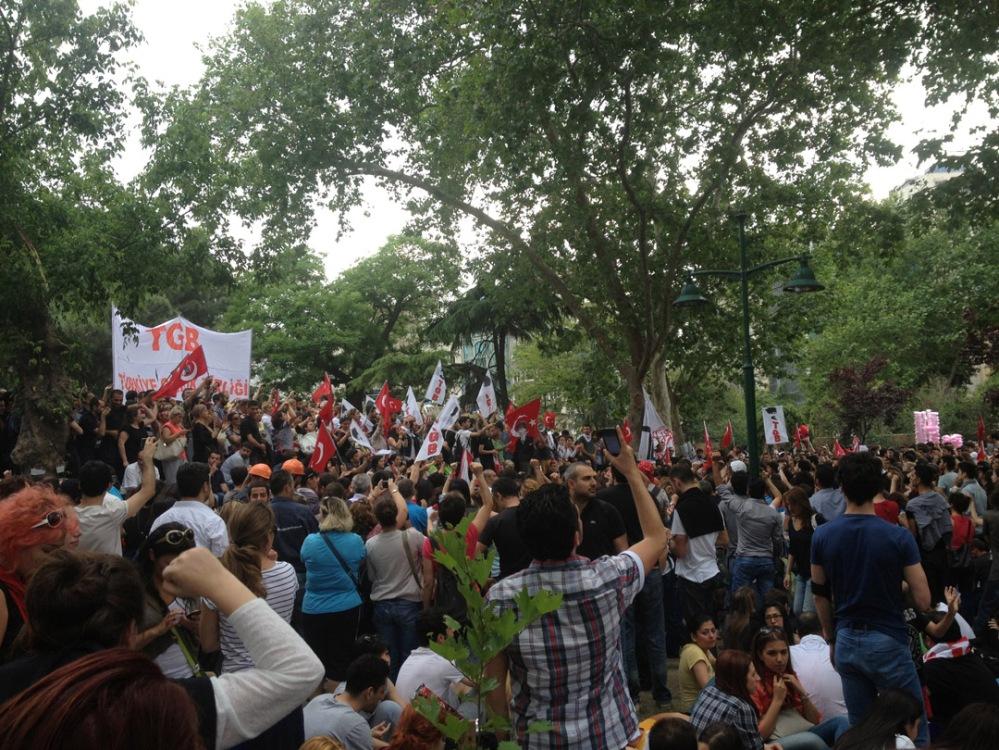 Beeld van actievoerders in het Gezi Park